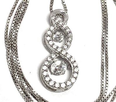 """.925 Sterling Silver 1.25ctw White Diamonique """"Dancing Diamond"""" Design Necklace"""