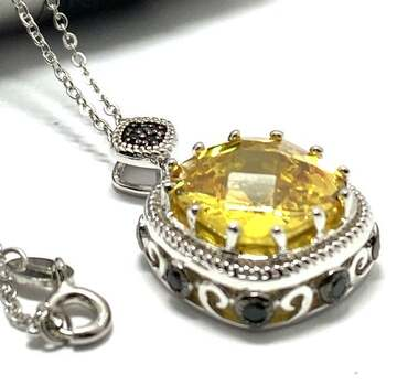 .925 Sterling Silver 12x12mm Vivid Yellow Topaz, 0.50ct Black Spinel Necklace