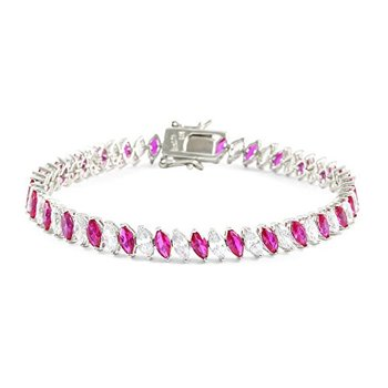 """925 Sterling Silver 14 White Gold Plated Marquise Cut Red & White Cubic Zirconia Tennis Bracelet, 7.5"""" Long"""