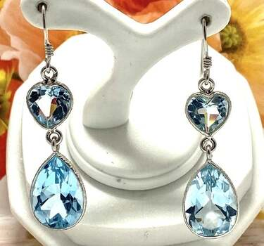 .925 Sterling Silver, 14.50ct Blue Topaz Dangle Earrings