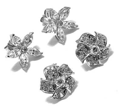 .925 Sterling Silver, 1.45ct Diamonique Diamond Lot of 2 Pair of Earrings