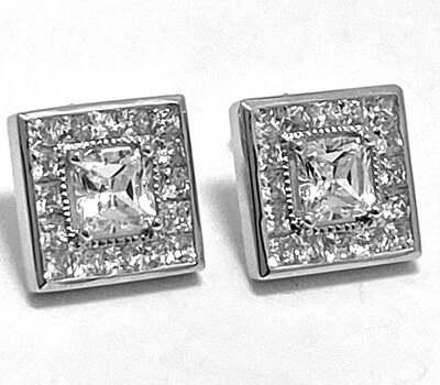 .925 Sterling Silver, 1.50ct Diamonique Diamond Stud Earrings