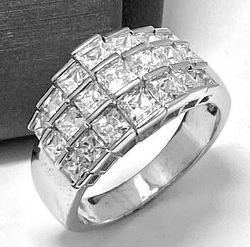 .925 Sterling Silver, 1.50ct Princess Cut Diamonique Diamond Band Ring