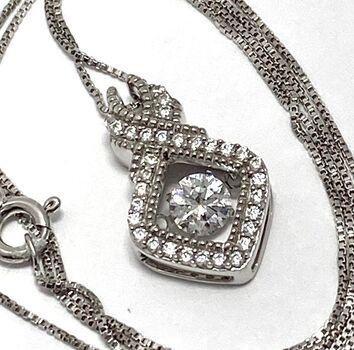 """.925 Sterling Silver 1.50ctw White Diamonique """"Dancing Diamond"""" Design Necklace"""