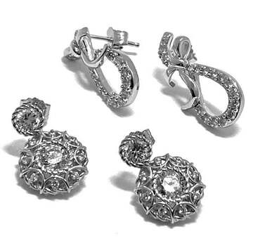 .925 Sterling Silver, 1.75ct Diamonique Diamond Lot of 2 Pair of Earrings