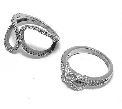 .925 Sterling Silver, 1.75ct Diamonique Diamond Lot of 2 Rings