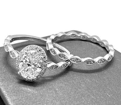 .925 Sterling Silver, 1.75ct Diamonique Diamond Set of 2 Rings