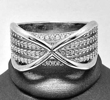 .925 Sterling Silver, 1.75ct Round Cut Diamonique Diamond Band Ring