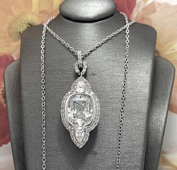 .925 Sterling Silver 18.00ctw Diamonique Necklace