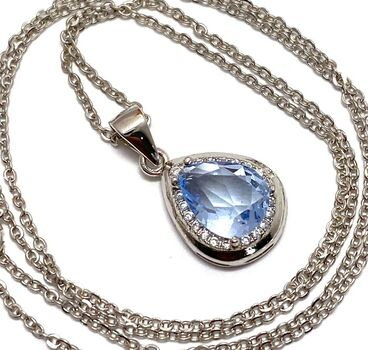 .925 Sterling Silver, 1.86ctw Blue & White Topaz Necklace