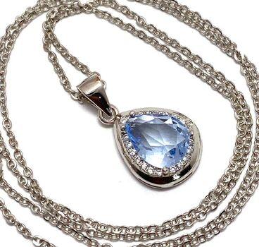 .925 Sterling Silver, 1.86ctw Tanzanite & White Topaz Necklace