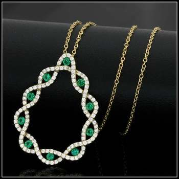 .925 Sterling Silver & 18k Yellow Gold Overlay Emerald & White Topaz Necklace