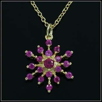 .925 Sterling Silver & 18k Yellow Gold Overlay Ruby Necklace