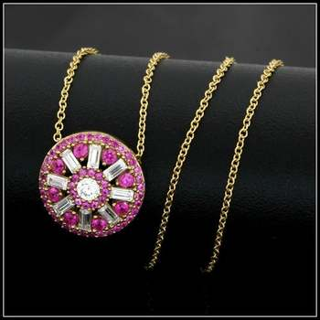 .925 Sterling Silver & 18k Yellow Gold Overlay Ruby & White Topaz Necklace