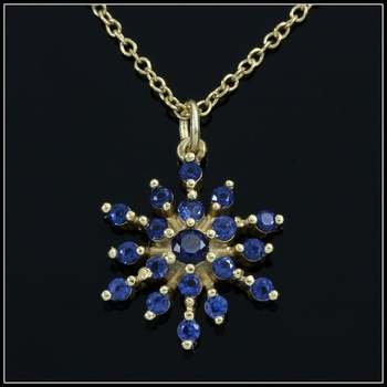 .925 Sterling Silver & 18k Yellow Gold Overlay Sapphire Necklace