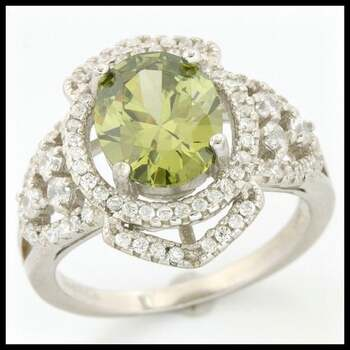 .925 Sterling Silver, 1.90ctw Peridot & (AAA Grade) CZ's Ring size 7