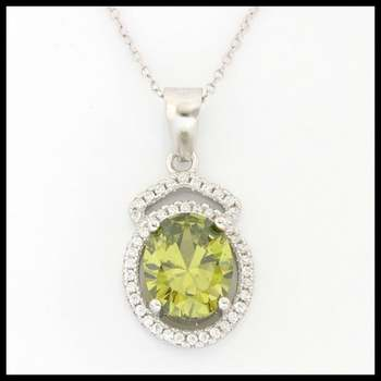 .925 Sterling Silver, 1.96ctw Peridot & (AAA Grade) CZ's Necklace