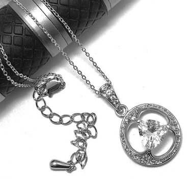 .925 Sterling Silver, 2.00ct Diamonique Diamond Necklace