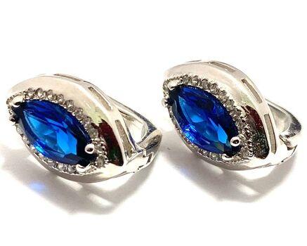 .925 Sterling Silver, 2.00ctw White & Blue Sapphire Earrings