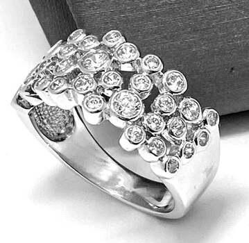 .925 Sterling Silver, 2.15ct Round Cut Diamonique Diamond Band Ring