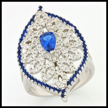 .925 Sterling Silver, 2.15ctw Sapphire & (AAA Grade) CZ's Ring size 6