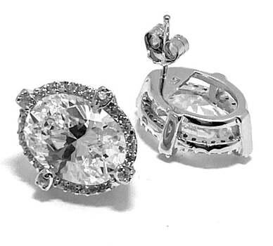 .925 Sterling Silver, 22.50ct Diamonique Diamond Stud Earrings