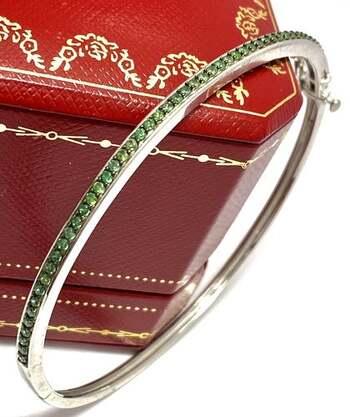 .925 Sterling Silver, 2.25ct Natural Emerald Bangle Bracelet