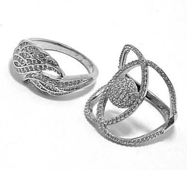 .925 Sterling Silver, 2.50ct Diamonique Diamond Set of 2 Rings