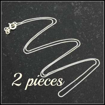 .925 Sterling Silver 2.6 Grams Box Link Chains (2 Pieces)!!!