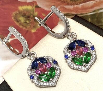 .925 Sterling Silver, 2.60ctw Emerald, Ruby, Citrine, White & Blue Sapphire Earrings