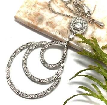 .925 Sterling Silver, 2.75ct White Diamonique Necklace