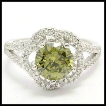 .925 Sterling Silver, 2.79ctw Peridot & (AAA Grade) CZ's Ring sz 8