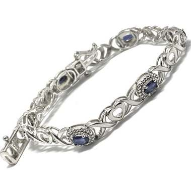 .925 Sterling Silver, 3.00ct Sapphire Bracelet