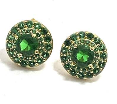 .925 Sterling Silver, 3.0ctw Emerald Stud Earrings