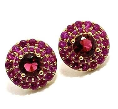 .925 Sterling Silver, 3.0ctw Ruby Earrings