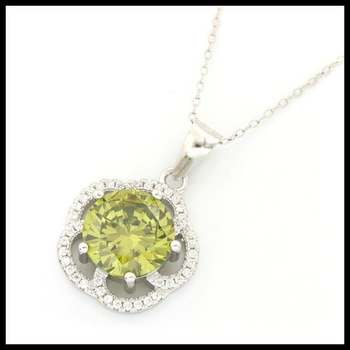 .925 Sterling Silver, 3.20ctw Peridot & (AAA Grade) CZ's Necklace