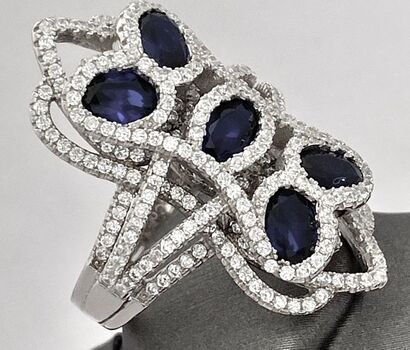 .925 Sterling Silver 3.25ctw Created Blue & White Sapphire Designer Samuelle & Co Ring Size 8