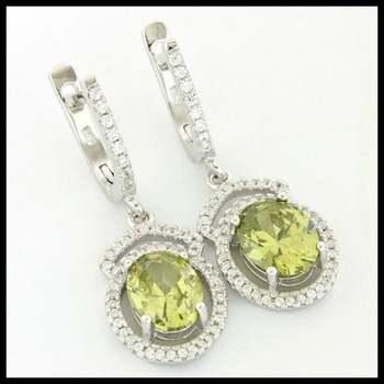 .925 Sterling Silver, 3.42ctw Peridot & (AAA Grade) CZ's Earrings
