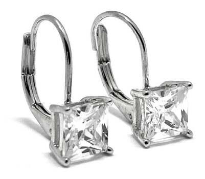 .925 Sterling Silver, 3.50ct Diamonique Diamond Leverback Earrings