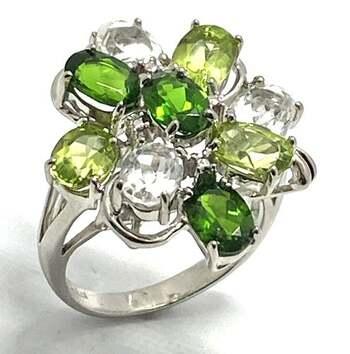 .925 Sterling Silver, 3.50ct Peridot & 3.35ct White Topaz & 3.40ct Green Tourmaline Ring Size 6