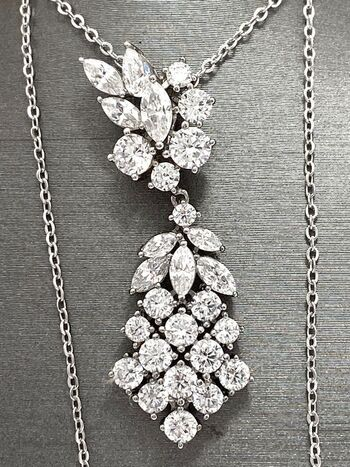 .925 Sterling Silver 3.50ctw Diamonique Necklace