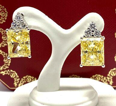 .925 Sterling Silver 35.20ct Vivid Yellow & White Topaz Earrings