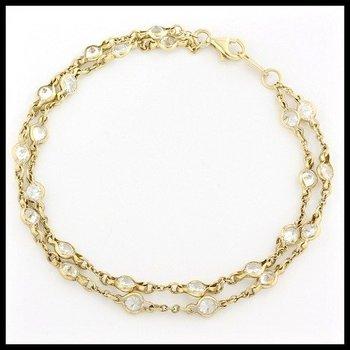 .925 Sterling Silver, 3.60ctw White Zircon Double Row Bracelet