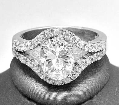.925 Sterling Silver, 3.75ct Oval Cut Diamonique Diamond Engagement Ring