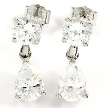 .925 Sterling Silver, 3.75ctw White Topaz Earrings