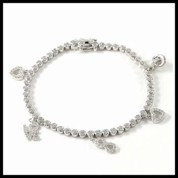 .925 Sterling Silver 4.00ctw Cubic Zirconia Charm Bracelet