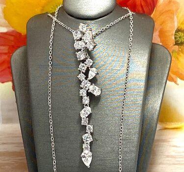 .925 Sterling Silver 4.00ctw Diamonique Necklace