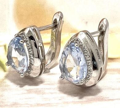 925 Sterling Silver, 4.0ctw Natural Sky Blue Topaz & White Sapphire Earrings