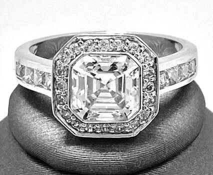 .925 Sterling Silver, 4.15ct Octagon Cut Diamonique Diamond Engagement Ring