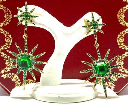 .925 Sterling Silver 4.20ct Emerald Earrings